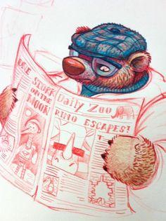 A very animal newspaper / Un periódico muy animal (ilustración de Jeremy Hoffman)