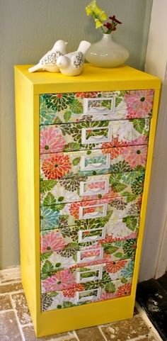 A bright new look on an old filing cabinet!