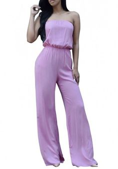 Purple Tie Back Bandeau Off Shoulder Plus Size Wide Leg Long Jumpsuit-12137482396-00