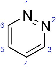 Pyridazine is a heteroaromatic organic compound with the molecular formula C4H4N2, sometimes called 1,2-diazine. It contains a six-membered ring with two adjacent nitrogen atoms.
