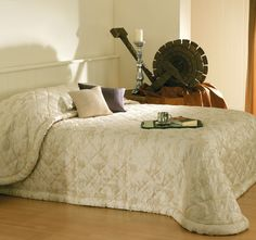 This Provincial Gold Bedspread by Bianca features lovely floral design in soft colour medley wit cross stitch pattern. Provincial Gold Bedspread is beautifully finished with cord trim. Soft Colors, Dark Colors, Colours, Bed Spreads, Comforters, Floral Design, Ottoman, Blanket