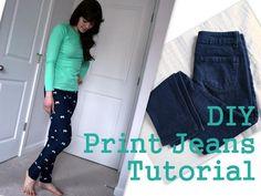 DIY Clothes DIY Refashion DIY Print jeans!