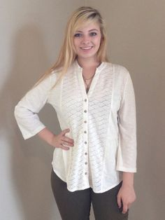 Cream Detail Button Up - Wit & Whimsy