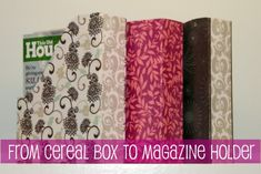 DIY Magazine Holder…Out of Cereal Boxes!  She is here to show you an amazingly easy way to take old cereal boxes and convert them into stylish storage items!   I have magazines, coloring books, kids school papers, medical forms and other paper all over my house. I found a way to organize almost anything by making my