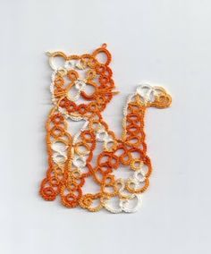 """Cute Ginger Cat in tatting !!! pattern from Inga Madsen's """"Tatted Animals"""""""