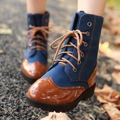 Patchwork Lace Up Round Tod Flat Short Boots Oxford Boots, Oxford Shoes Outfit, Flat Boots, Sock Shoes, Cute Shoes, Me Too Shoes, Mid Calf Boots, Ankle Boots, Combat Boots