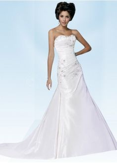 Noble Taffeta A-Line Sweep Train Sweetheart bridal dress with Embroidery And Beading