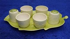 Carlton Ware Handpainted Australian Design Egg Cup, Cruet Set, Leaf Design.