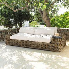 Canapé 3/4 places en rotin et tissu ivoire St Tropez   Maisons du Monde