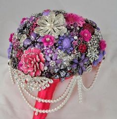 pink and purple brooch bridal bouquet