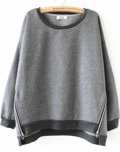 Grey Long Sleeve Side Zipper Sweatshirt - Sheinside.com