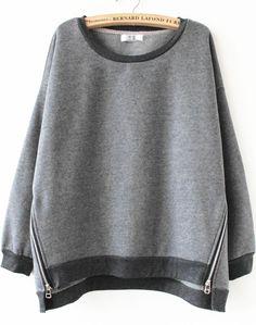Grey Long Sleeve Side Zipper Sweatshirt - Sheinside.com
