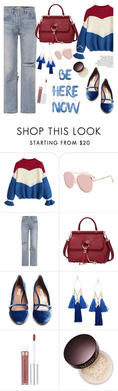 """Be here now!"" by helenevlacho ❤ liked on Polyvore featuring RE/DONE, Tabitha Simmons and Laura Mercier"
