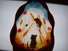 Mice/harvest transparency -- for light table Autumn Crafts, Nature Crafts, Summer Crafts, Paper Art, Paper Crafts, Window Art, Window Picture, Waldorf Crafts, Lanterns