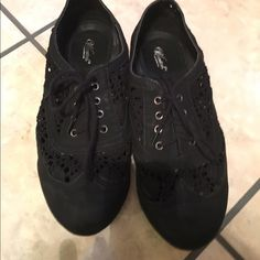 Wanted brand black lace tennis shoes Wanted brand black lace tennis shoes. Worn some but good condition. Size 7. Wanted Shoes Flats & Loafers