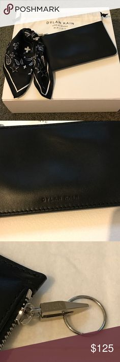 Dylan Kain Ella pouch Dylan Kain Ella pouch. Black Leather pouch with removable silk scarf. 3 internal credit card slots. Used a couple of times. Great condition. Dylan Kain Accessories