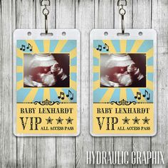 Rock-a-bye Baby Lanyard with Sonogram Photo by Hydraulic Graphix, Baby Shower Ideas, Music Theme Baby Shower, Rock N Roll Baby Shower, Baby Shower Theme, Unique Baby Shower Ideas