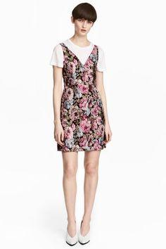Jacquardgeweven jurk - Zwart/bloemen - DAMES | H&M NL 1