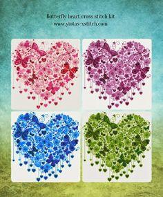 Butterfly heart cross stitch kit