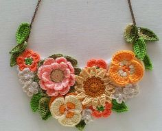 Floral Textile Necklace - Floral Necklace - Flower Necklace - Textile Necklace - Crochet Jewellery - Statement Necklace - Ready to Ship: