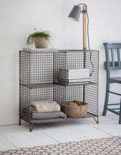 Wire Shelving Unit – Home/Room Decor – gitter Wire Shelving Units, Shelving Racks, Industrial Shelving, Wire Shelves, Industrial Style, Shelves In Bedroom, Bedroom Storage, Small Space Storage, Extra Storage