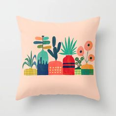 Plant Mania Couch Throw Pillow by Picomodi - Cover x with pillow insert - Indoor Pillow Throw Cushions, Couch Pillows, Designer Throw Pillows, Down Pillows, Accent Pillows, Garden Nursery, Indian Art Paintings, Buy Plants, Fluffy Pillows