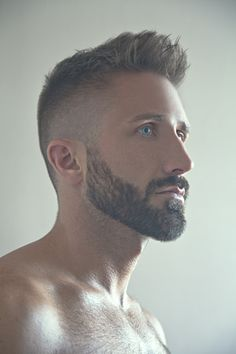 .Beautiful profile. Nice haircut, manicured beard and piercing blue eyes.