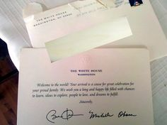 If you send a birth announcement to the White House... MUST DO