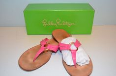 Lilly Pulitzer Pink Leather Mc Kim Flip Flop Sandals-Size 8.5 #LillyPulitzer #FlipFlops