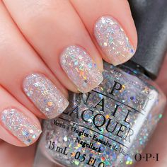 Glitz and glam in one bottle with OPI Products Desperately Seeking Sequins lacquer from their Spotlight on Glitter Collection. Sparkle Nails, Glitter Nail Polish, Fancy Nails, Cute Nails, Pretty Nails, Polish Nails, Glitter Manicure, Glitter Glue, Bright Nail Polish