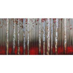 Tableau forêt de bouleaux rouge et blanc, peint à la main à l'huile lustré 30x60''