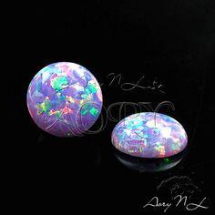 1pcs 6mm Multi-Lavender Synthetic Opal Cabochon Round Shape
