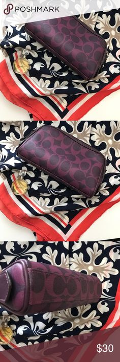 Coach Purple Signature Cosmetic Pouch Very nice condition!  Never used!  Offers welcome!  Chanel perfume listed separately. Coach Bags Cosmetic Bags & Cases