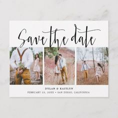 Shop Rustic Script Three Photos Save the Date Postcard created by SweetRainDesign. Personalize it with photos & text or purchase as is! Photo Invitations, Engagement Party Invitations, Save The Date Invitations, Wedding Invitation Cards, Invites, Wedding Invitations With Pictures, Invitations Online, Invitation Wording, Shower Invitations