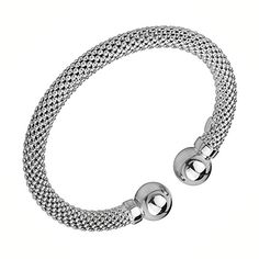 White Gold Plated Mesh Design with Polished Ball Sterling Silver Bangle Bracelet | GoldenMine.com