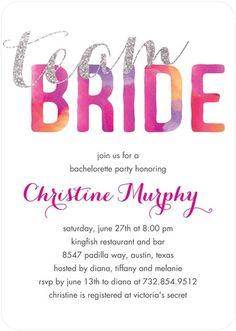 Team Bride - Signature White Bachelorette Party Invitations - Coloring Cricket - Fuchsia - Pink : Front