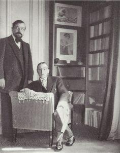 Igor Stravinsky and Claude Debussy in the latter's apartment in the Avenue du Bois de Boulogne, Paris; photo by Erik Satie, June 1910 (Paul Sacher Foundation, Basle)  fantomas-en-cavale    Debussy et Stravinsky, 1911