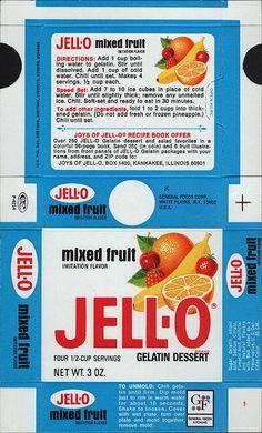 General Foods Jell-O Mixed Fruit Gelatin Dessert box file flat - May 3 1971 by JasonLiebig, via Flickr