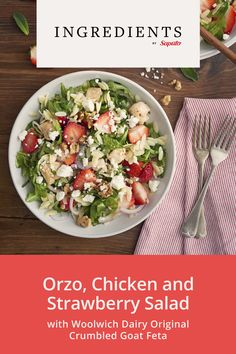 INGREDIENTS BY SAPUTO | This orzo, chicken, strawberry, and Feta salad is ideal for picnics and BBQs, and is sure to satisfy all your summer cravings! Spinach Salad Recipes, Feta Salad, Lemon Chicken, Potato Salad, Good Food, Healthy Recipes, Meals, Picnics, Strawberries