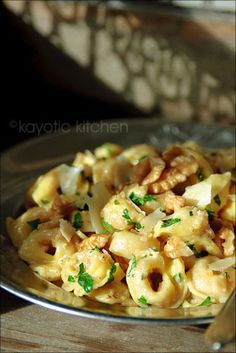 Tortellini with Walnut & Mascarpone Sauce (add chicken - would be similar to dish I had at Trattoria d'el Arte in New York)