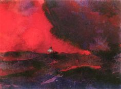 Dark Red Sea~Emil Nolde   Lone Quixote   #EmilNolde #nolde #expressionism #art #painting