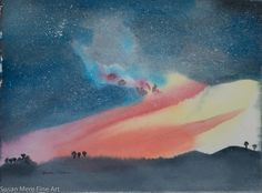 """Original Watercolor by Susan Marie Fairclough, Starry Starry Night, 11"""" X 15"""" Unmatted"""