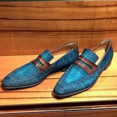 S/S 2016 at Berluti with these drop dead gorgeous Andy #loafers in denim and leather