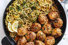 Garlic Butter Meatballs with Lemon Zucchini Noodles