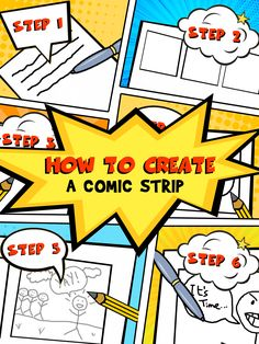 How to create a comic strip. Tips for creating your first comic strip for kids by Imagine Forest. Comic Book Font, Comic Book Tattoo, Make A Comic Book, Comic Book Display, Comic Book Template, Create A Comic, Comic Book Girl, Best Comic Books, Comic Book Writing
