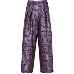 DRIES VAN NOTEN Purple 'Phoebe' Palazzo Pants (42,480 INR) ❤ liked on Polyvore featuring pants, brocade pants, pocket pants, wide-leg pants, wide leg palazzo pants and embroidered pants