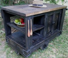 Kitchen Cart - Wes Dalgo Distressed Black Modern Rustic Kitchen Island Cart w/Walnut Stained Top - Rustic Edge - 1 Pallet Kitchen, Rustic Modern Kitchen, Rustic Diy, Rustic Kitchen Island, Rustic Furniture, Homemade Kitchen Island, Diy Kitchen, Rustic Kitchen, Kitchen Island Cart