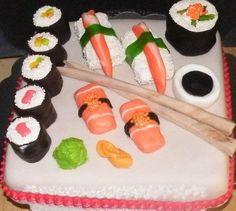 Sushi cake by Three Little Blackbirds on Facebook