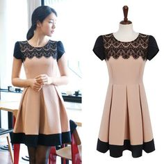 Sales And Free Shipping 2013 Summer New Cute Elegant Lace Neck Patchwork Color Slim Pleated Dress For Women Fashion Wear N30839 $17.28