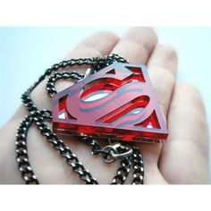 Superman Necklace - Superhero pendant - Sale 20 % ($13) ❤ liked on Polyvore featuring jewelry, necklaces, accessories, pendant jewelry, thick chain necklace, mirror necklace, thick necklace and plastic chain necklace